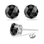 1/3 Cts of 3.50x3.50x1.20 mm AA Round Rose Cut Black Diamond Stud Earrings in Silver