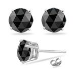 2.00 Cts  Black Diamond Stud Earrings in 14K White Gold