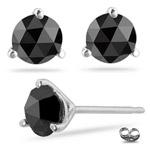 1.00 Ct Black Diamond Stud Earrings in 18K White Gold