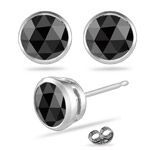 1/4 Cts of 3 mm AA Round Rose Cut Black Diamond Stud Earrings in 14K White Gold