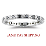 1.05 Cts Black & White Diamond Eternity Ring in 14K White Gold