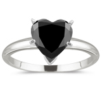 2.00 Cts of 7.30-8.50 mm AAA heart Black Diamond Solitaire Ring in Platinum