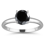 1/4 Cts Black Diamond Solitaire Ring in 14K White Gold