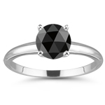 2.50 Cts of 7.80-8.92 mm AAA round rosecut Black Diamond Solitaire Ring in Platinum