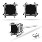 1.00 Ct Princess AA Black Diamond Stud Earrings in Platinum