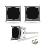 3/4 Cts Black Diamond Stud Earrings in 18K White Gold