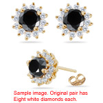 1.06-1.16 Cts Black & White Diamond Cluster Stud Earrings in 18K Yellow Gold