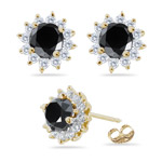 5.50-6.56 Cts Black & White Diamond Cluster Stud Earrings in 18K Yellow Gold