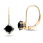 1.25-1.50 Cts Princess AAA Black Diamond Lever Back Stud Earrings in 14K Yellow Gold