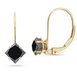 1/2 Cts of 3.00-3.30 mm AA Princess Black Diamond Stud Earrings in 14K Yellow Gold
