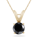 3/4 Cts of 5.34-6.01 mm AA Round Black Diamond Solitaire Pendant in 18K Yellow Gold