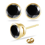 3 1/2 Cts of 7 mm EGL USA Certified AA Round Black Diamond Stud Earrings in 14K Yellow Gold