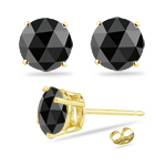 1.00 Ct Round Rose Cut AAA Black Diamond Stud Earrings in 18K Yellow Gold