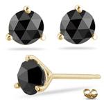 1/4 Cts Round Rose Cut AAA Black Diamond Stud Earrings in 14K Yellow Gold