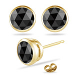 2 1/2 Cts of 6 mm EGL USA Certified AAA Round Rose Cut Black Diamond Stud Earrings in 18K Yellow Gold