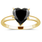 1.00 Ct of 5.60-6.43 mm AAA heart Black Diamond Solitaire Ring in 14K Yellow Gold