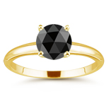 3.50 Cts of 8.77-9.89 mm AA round rosecut Black Diamond Solitaire Ring in 14K Yellow Gold