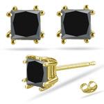 3/4 Cts Princess AAA Black Diamond Stud Earrings in 14K Yellow Gold