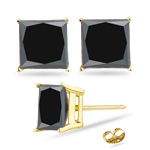 1/4 Cts of 2.00-2.50 mm AA Princess Black Diamond Stud Earrings in 14K Yellow Gold