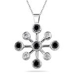 0.91 Ct Black & White Diamond Pendant in 14K White Gold