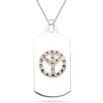 0.16 Ct Black Diamond Pendant in Pink Gold & Silver