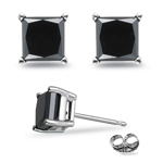1.00 Ct of 3.80-3.99 mm AAA Princess Black Diamond Stud Earrings in Platinum