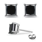 1 1/2 Cts of 4.30-4.70 mm AAA Princess Black Diamond Stud Earrings in Platinum