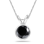 1/4 Cts AAA Round Black Diamond Solitaire Pendant in 14K White Gold