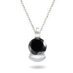 1/3 Cts AA Round Black Diamond Solitaire Pendant in 18K White Gold