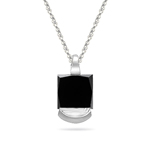 1.50 Cts Princess Cut Black Diamond Solitaire Pendant in Platinum