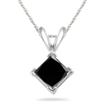3.00 Cts Princess Cut Black Diamond Solitaire Pendant in Platinum