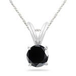 3.00 Cts Round Black Diamond Solitaire Pendant in Platinum