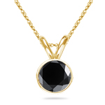 3.00 Cts AAA Round Black Diamond Solitaire Pendant in 18K Yellow Gold