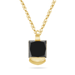 1/3 Cts AA Princess Cut Black Diamond Solitaire Pendant in 18K Yellow Gold