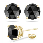 1.00 Ct of 5.40-5.50 mm AA Round Rose Cut Black Diamond Stud Earrings in 18K Yellow Gold