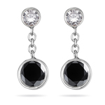 0.60 Cts Black & White Diamond Drop Earrings in 14K White Gold