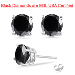 2.95-3.44 Cts 6.30-7.51 mm EGL USA Certified AA Round Black Diamond Stud Earrings in 14KW Gold