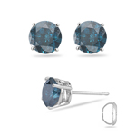 1/2 Cts ( I1 ) Round Teal Blue Diamond Stud Earrings in 14K White Gold