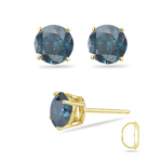1/2 Cts ( I1 ) Round Teal Blue Diamond Stud Earrings in 14K Yellow Gold