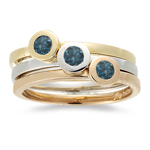 0.20 Ct Blue Diamond Stack Bands in 14K Three Tone Gold