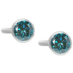 1.00 Ct ( I1 ) Round Teal Blue Diamond Stud Earrings in 14K White Gold
