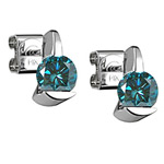 1/4 Cts ( I1 ) Round Teal Blue Diamond Stud Earrings with Special Backs in 14K White Gold