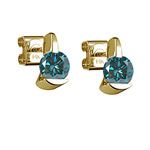 1.00 Ct ( I1 ) Round Teal Blue Diamond Stud Earrings with Special Backs in 14K Yellow Gold