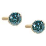 1.50 Cts ( VS ) Round Teal Blue Diamond Stud Earrings in 14K Yellow Gold