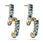 2/3 Cts Teal Blue Diamond 14K Yellow Gold Earrings
