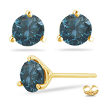 1.20 Cts Teal Blue Diamond Stud Earrings in 14K Yellow Gold