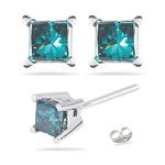 0.51 Cts Blue Diamond Stud Earrings in 14K White Gold