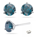 0.92 Cts Blue Diamond Stud Earrings in 14K White Gold
