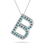 0.27 Cts Blue Diamond B Initial Pendant in 14K White Gold