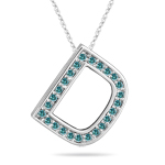 1/4 Cts Blue Diamond D Initial Pendant in 14K White Gold